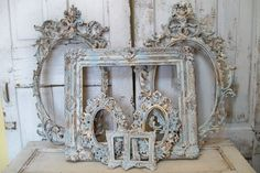 Large ornate frame grouping French blue white by AnitaSperoDesign, $465.00