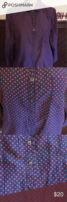 Navy with red polka dot pullover button up Silk blend material Button up pullover J. Crew Tops Button Down Shirts