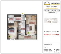 Apartamente de vanzare Mihai Bravu Residence 9 -2 camere tip A Utila, Floor Plans, Diagram, Floor Plan Drawing, House Floor Plans