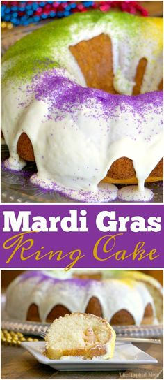 Easy Mardi Gras cake recipe! A fun way to celebrate with your kids or friends at a party and see who gets the baby in their slice for luck! via @thetypicalmom