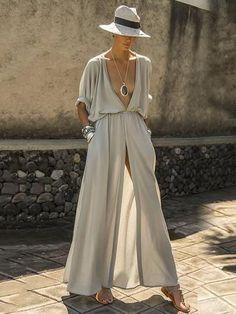 boho resort fashion - boho long dress with hat - greek fashion - vacation outfit ideas - long white silk dress with high slit Greek Fashion, Boho Fashion, Fashion Outfits, Fashion Clothes, Fall Fashion, Fashion Design, Fashion Trends, Looks Chic, Looks Style