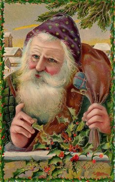 Santa with Holly ~ Vintage Christmas Postcard...Santa's face was done beautifully, the details wonderful....