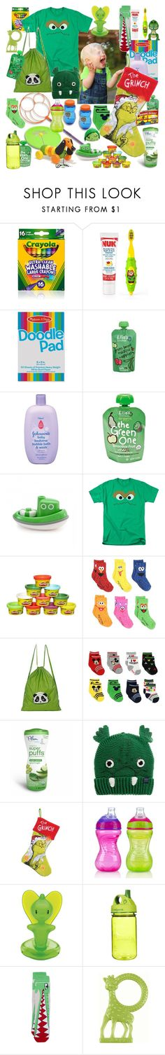 """""""Grinchy green"""" by sterlingkitten ❤ liked on Polyvore featuring Raisins, Sesame Street, Morn Creations, FRUIT, Joules, Nûby, Alessi, Nalgene, Topman and Vilac"""