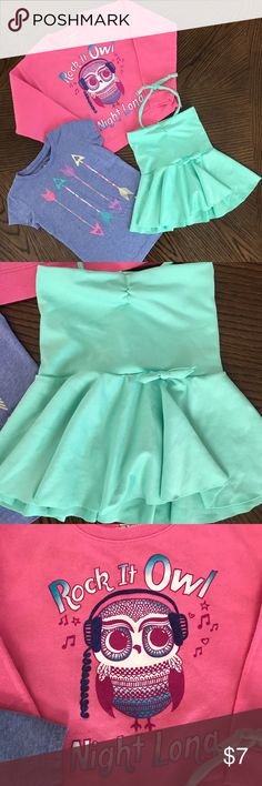 💕BUNDLE ONLY💕 Set of Girls Tops Sweat shirt has been worn &  well loved, still plenty of life left in it. HANES, size small. Arrow T-shirt, worn a few times still in excellent condition. CIRCO, size extra small 4 to 5. Handmade halter peplum top. Seafoam green. There is no size label however this could fit an XS to small. Made from a luxurious nylon, spandex type material. Feels like a swimsuit. This SET includes all items photographed, however this is a BUNDLE only listing. Purchase with…