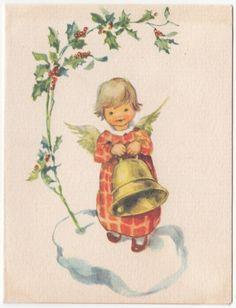 Vintage Greeting Card Christmas Brownie Angel Bell 1940s A177   eBay