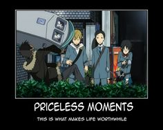 Durarara!!-The one time Izaya got hit by something Shizuo threw at him!  I couldn't stop laughing for like 10 minutes.  It was easily one of the best Durarara moments~