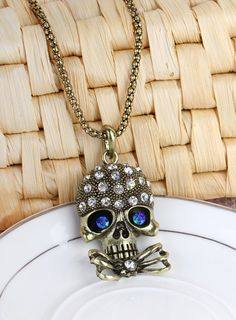 70cm Vintage Sweater Chain Necklace Skull Design Copper Necklaces Two Colors