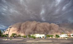 A giant haboob ready to engulf Gilbert, Arizona.Haboobs are walls of dust that typically form from the outflow produced by strong thunderstorms in semiarid and arid regions of the world.Winds can whip to 60 mph in these events and visibility may drop to zero,leaving huge areas cloaked in dust,sand and mud after the haboob passes.In the southwestern U.S.,haboobs have a propensity to occur during the summer months sometimes in association with monsoon thunderstorms.Photo by: S Lehtonen