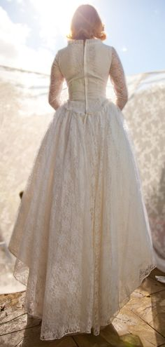 Early 1960s Vintage Lace Wedding Dress love the high to low train