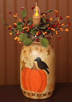 primitive Thanksgiving pumpkin and crow jar light I would use a Mason Jar, put the light inside Mason Jar Projects, Mason Jar Crafts, Bottle Crafts, Mason Jars, Canning Jars, Autumn Crafts, Thanksgiving Crafts, Holiday Crafts, Fall Halloween