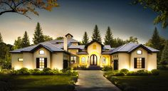Architectural Designs Courtyard Entry 4 Bed House Plan with Upstairs Game Room Plan Mediterranean Homes Exterior, Mediterranean Home Decor, Tuscan Homes, Exterior Homes, Mediterranean Architecture, Exterior Paint, Courtyard Entry, Courtyard House Plans, Dream House Plans