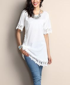 Reborn Collection White Lace Trim Tunic Dress | zulily