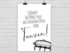 Typo/Druck Platz zum Tanzen // poster/print more space to dance by Prints Eisenherz via DaWanda.com