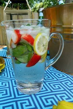 sadie + stella: Strawberry Lemon Basil Infused Water  Ingredients:  2 Lemons  8 Strawberries  A handful of Basil Leaves  Water    Directions:  Slice lemons. Quarter strawberries. Tear basil leaves. Add ingredients to pitcher with ice and water. Refrigerate for an hour.