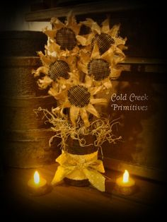 Primitive Sunflower Bouquet inside a Rusty Tin Can Sunflower Crafts, Sunflower Bouquets, Bed Spring Crafts, Fall Crafts, Holiday Crafts, Holiday Ideas, Sunflower Pattern, Primitive Crafts, Primitive Fall