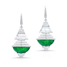 Vivid green emerald half moon cabochon and diamond earrings set in 18kt. white gold. Martin Katz.