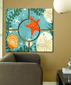 This Blue Starfish Wall Art Set is perfect! #zulilyfinds