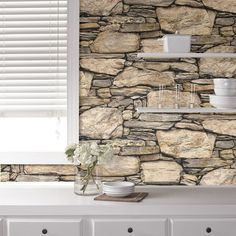 Hadrian 3D Ledger Stone Rock Brick Wall Peel and Stick Wallpaper
