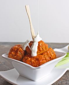 Buffalo Balls  Ingredients  1lb ground chicken or turkey  2 oz cream cheese, softened  2 eggs  2 Tbl chopped celery  3 Tbl crumbled blue cheese  1/2 tsp black pepper  1/2 stick (4 oz) unsalted butter  1/2 cup Frank's Red Hot