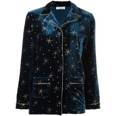Valentino star embroidered pyjama top (£2,350) ❤ liked on Polyvore featuring tops, valentino, pajamas, shirts and blue