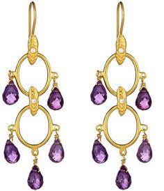 ShopStyle: Anya Jewels Amethyst Double Loop Chandelier Earrings