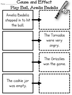 """This is a cause and effect activity designed to help students understand the relationship of the events from the text """"Play Ball, Amelia Bedelia"""". Library Lessons, Reading Lessons, Reading Resources, Reading Strategies, Reading Skills, Teaching Reading, Reading Comprehension, Guided Reading, Reading Centers"""