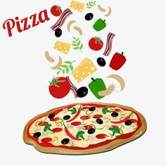 Illustration of Pizza and ingredients on white background, vector illustration vector art, clipart and stock vectors. Pizza Kunst, Pizza Cartoon, Pizza Party Birthday, Pizza Vector, Diner Restaurant, Pizza Art, Pizza Boxes, Arabic Food, Food Illustrations
