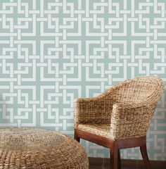 Woven Squares Large: Reusable, Wall Stencil, DIY decor - Decorative Wall Stencil, Large, Trellis stencil, moroccan stencils, wall decor
