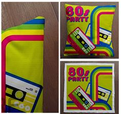 80s Party Retro   Cushion Fabric Panel Or Case or by foxyNfoxy, £5.00