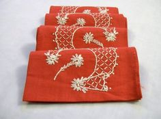 Red Napkins, Vintage Red Napkins, Small Red Napkins, Napkins With Embroidery by VintagePlusCrafts on Etsy