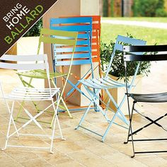Set of Two Café Folding Chairs; these would be cute outside!