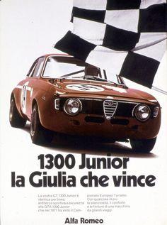 "carsthatnevermadeit: "" Advertising for the victory of the Alfa Romeo 1300 Junior GTA in the 1972 European Touring Challenge "" Alfa Bertone, Alfa Alfa, Alfa Romeo Gta, Alfa Romeo Logo, Monster Garage, Old Sports Cars, Car Brochure, Alfa Romeo Giulia, Rally Car"