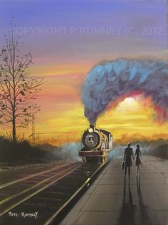 PETE RUMNEY FINE ART ORIGINAL ACRYLIC PAINTING STEAM TRAIN NOSTALGIA SUNSET in Art, Direct from the Artist, Paintings   eBay!