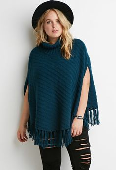 FOREVER 21+ Plus Size Cable Ribbed Turtleneck Poncho