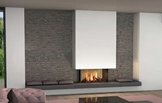 Home Interior Salas modern fireplace on the wall - Modern fireplaces for stunning indoor and outdoor spaces.Home Interior Salas modern fireplace on the wall - Modern fireplaces for stunning indoor and outdoor spaces Modern Fireplace Decor, Cozy Fireplace, Living Room With Fireplace, Fireplace Surrounds, Fireplace Design, Fireplace Mantels, Modern Decor, Living Room Decor, Modern Fireplaces