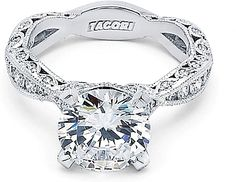 """Tacori RoyalT Twist Diamond Engagement Ring  : A Tacori Girl favorite is further beautified in the """"RoyalT"""" collection, taking the popular pave-set ribbon band and enhancing your choice of a center diamond. The intricate 4-pronged, pave set gallery beneath the center stone is evocative of a budding flower reaching ultimate beauty. Can you say breathtaking?"""
