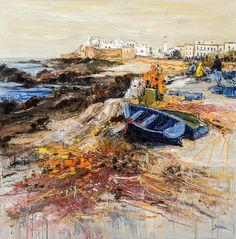"Jean-Paul SURIN ""Marée basse à Essaouira"" Huile sur toile   120x120"