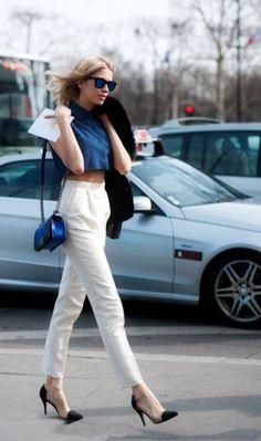 Pantalone a sigaretta bianco a vita alta