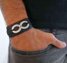 Men's Bracelet - Men's Leather Bracelet - Men's Bracelet - Men's Infinity Bracelet - Men's Leather Bracelet - Men's Jewelry - Men's Gift - Husband Gift - Boyfriend Gift - Male  The simple and beautiful warp bracelet combines black leather texture which wrap 3 times on hand and a silver plated infinity element with an inspiring motivational sentence: I can & I will. Great significance! $48