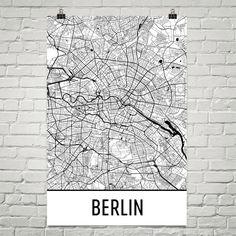 Berlin Map Art Print, Berlin Germany Art Poster, Berlin Wall Art, Map of Berlin, Berlin Print, Berlin Gift, Birthday, Decor, Modern, Art