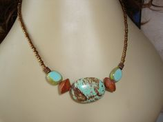 Turquoise and Brown Necklace Czech Glass by CoastalCreationz