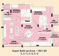 SMB Towers Karaikudi, Flat No C, C-1, C-2, C-3 in 2 bedrooms and Total Area of 1021 Sqft and the Main Door Facing East, luxurious lifestyle  dream house at price