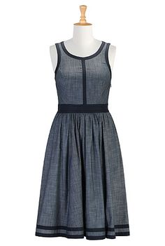 I <3 this Contrast banded trim chambray dress from eShakti