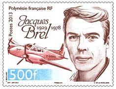 Jacques Brel auf Briefmarke von Französisch-Polynesien 2013