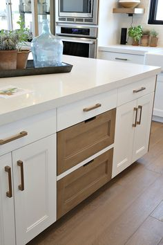 Best tips for staining or restaining cabinets. Painted kitchen cabinets mixed with stained wood Stained Kitchen Cabinets, Kitchen Cabinet Colors, Painting Kitchen Cabinets, Kitchen Paint, Wood Cabinets, Bathroom Cabinets, White Cabinets, Restaining Cabinets, Kitchen Furniture