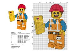 Lego hard hat Emmet The Lego Movie free cross stitch pattern 48x67