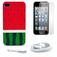 watermeloen patroon harde case en screen protector en stylus en kabel voor iPhone 4 / 4s – EUR € 5.51
