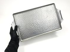 Vintage Hammered Aluminum Tray, Rectangular Metal Serving Tray, circa 1920s-1950s
