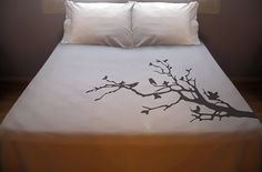 Tree Branch Birds Duvet Cover Bedding Nature Lovebirds bird leaves blossoms Twin Full Double Queen King Size - Pillowcases Not Included Queen Size Duvet Covers, Duvet Cover Sizes, White Bedding, Bedding Sets, Queen Bedding, King Beds, Queen Beds, King Queen, Tree Bed