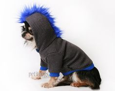 Dog Clothes Mohawk Grey and Blue Stripe dog by PetitDogApparel